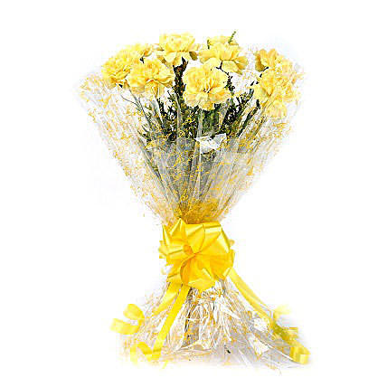 Lively Yellow Carnation Bouquet