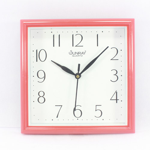Cherry Red Frame Wall Clock