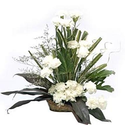 Cool Classic White Carnation Arrangement