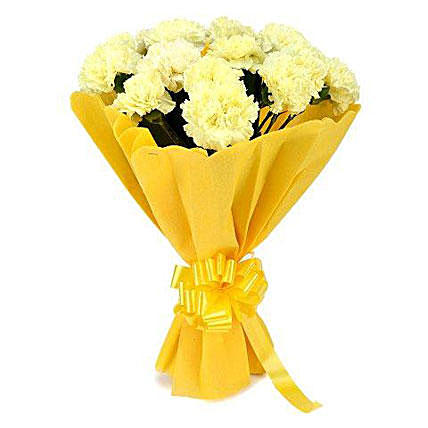 Peppy Love Yellow Carnation Bouquet