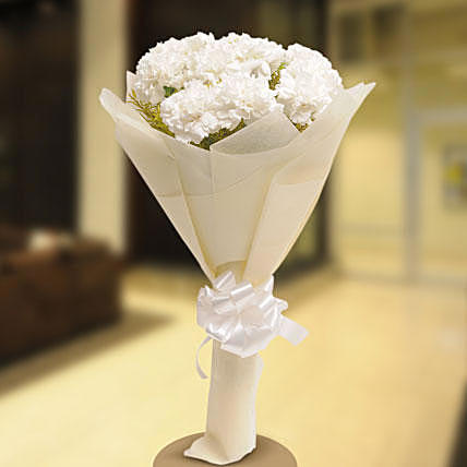 Starry White Carnation Bouquet